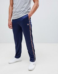 Fila White Line Joggers With Taping In Navy