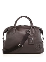 Giorgio Armani Leather Holdall Black Brown