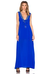 Karina Grimaldi Cathy Beaded Maxi Dress Blue