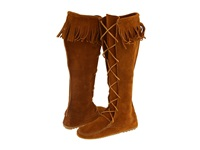 Minnetonka Front Lace Hardsole Knee Hi Boot Brown Suede Women's Lace Up Boots