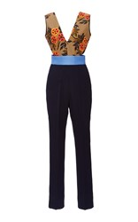Msgm Jumpsuit With Flower Branch Print