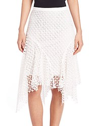 Elie Tahari Melly Lace Asymmetrical Skirt Antique White