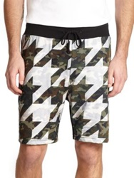 Mostly Heard Rarely Seen Houndstooth And Camouflage Mesh Drawstring Shorts Black White