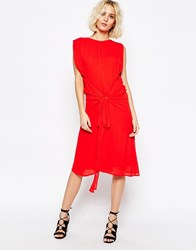 Paisie Multi Layer Dress With Tie Waist Red