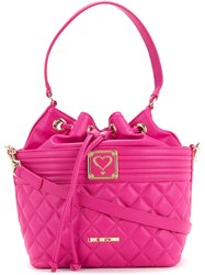 Love Moschino Quilted Drawstring Shoulder Bag Women Polyurethane One Size Pink Purple