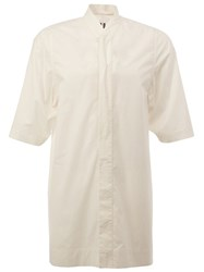 Rick Owens Stand Up Collar Shirt White