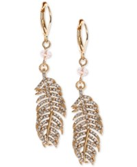 Lonna And Lilly Gold Tone Crystal Feather Drop Earrings