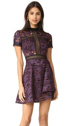 Self Portrait Eliza Cutwork Mini Dress Purple