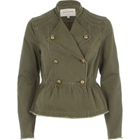 River Island Khaki Green Distressed Military Jacket