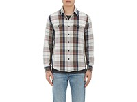 Outerknown Men's Cotton Plaid Shirt Jacket Light Blue