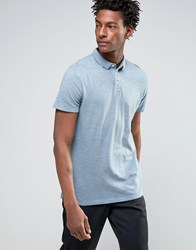 Selected Slim Fit Slub Jersey Polo Shirt With Overdye Blue