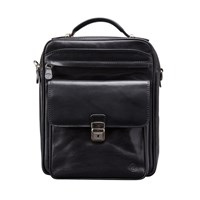 Maxwell Scott Bags Luxury Italian Leather Men's Large Shoulder Bag Santino L Black