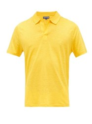 Vilebrequin Logo Embroidered Linen Jersey Polo Shirt Yellow