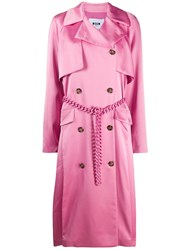 Msgm Chain Belt Trench Coat Pink