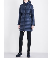 Moncler Barbel Hooded Quilted Shell Coat Blue