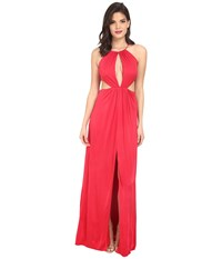 Aidan Mattox Stretch Matte Jersey Long Gown With Cut Outs And Halter Neckline Ruby Women's Dress Red