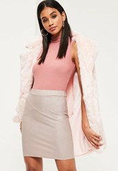 Missguided Nude Ribbed Mini Skirt Pink