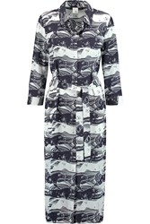 Iris And Ink Adrienne Printed Silk Shirt Dress Blue