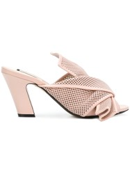 N 21 No21 Perforated Bow Detail Mules Pink And Purple