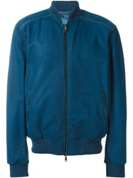 Brioni Leather Bomber Jacket Blue