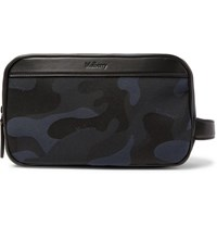 Mulberry Leather Trimmed Camouflage Print Canvas Wash Bag Navy