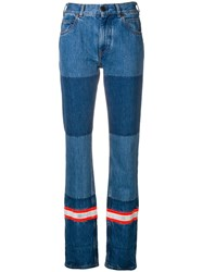 Calvin Klein 205W39nyc Patched Reflective Stripe Bootleg Jeans Blue