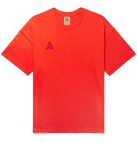 Nike Acg Nrg Logo Embroidered Cotton Jersey T Shirt Red