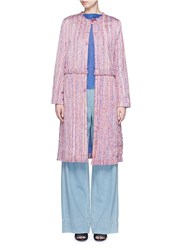 Xu Zhi 'Yarn' Quilted Cotton Trench Coat Pink Multi Colour