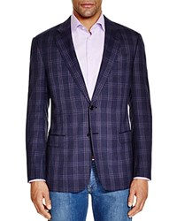 Armani Collezioni Plaid Slim Fit Sport Coat Navy Blue