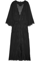 Dolce And Gabbana Chantilly Lace Silk Blend Georgette Robe Black