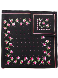 Red Valentino Floral Print Scarf Black