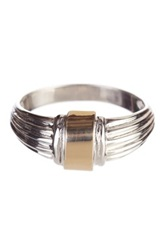 Candela 14K Yellow Gold And Sterling Silver Ribbed Ring Metallic