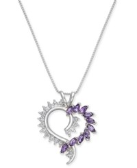 Macy's Amethyst 9 10 Ct. T.W. And Diamond Accent Heart Pendant Necklace In Sterling Silver