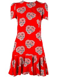 Alexander Mcqueen Rose Print Flounce Dress Red