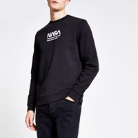 River Island Only And Sons Black Nasa Print Sweatshirt