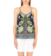Warehouse Floral Print Pleated Camisole Navy