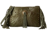 American West Honky Tonk Days Fringe Crossbody Olive Green Cross Body Handbags