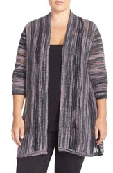 Plus Size Women's Sejour Space Dyed High Low Cardigan Grey Space Dye