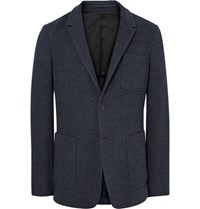 Ami Alexandre Mattiussi Blue Slim Fit Unstructured Herringbone Cotton Blend Blazer Indigo