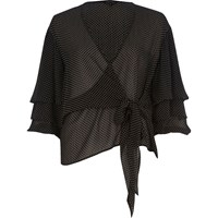 River Island Black Spot Tie Front Puff Sleeve Blouse