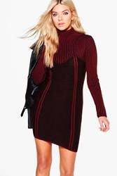 Boohoo Rib Knit Bodycon Dress Wine