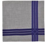 Simonnot Godard Men's Satin Stripe Cotton Handkerchief Grey Blue Grey Blue