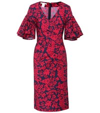 Oscar De La Renta Floral Printed Cotton Dress Red