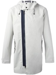 Z Zegna Dislocated Zip Hooded Jacket Grey