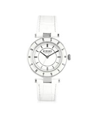Versace Versus Logo Silver Tone Stainless Steel Case And White Leather Strap Women's Watch
