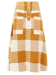 Ace And Jig Maisie Checked Cotton A Line Skirt Beige Multi