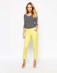 Oasis Compact Cotton Trousers Yellow