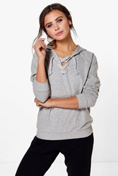 Boohoo Frances Lace Up Hooded Sweat Grey