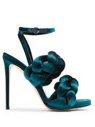 Marco De Vincenzo Plaited Velvet Sandals Dark Green