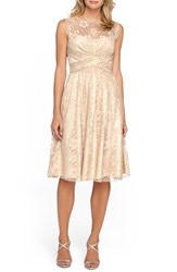 Women's Tahari Metallic Lace Fit And Flare Dress Champagne Gold